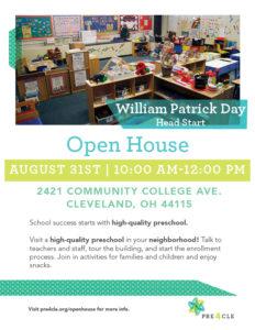 William Patrick Day Head Start Preschool Open House @ William Patrick Day Head Start | Cleveland | Ohio | United States